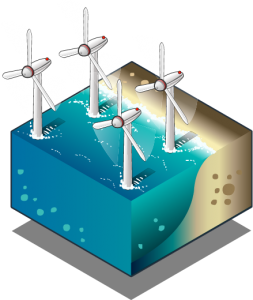 isometric illustration of offshore wind farm