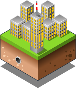 isometric illustration of city being powered by offshore wind farm