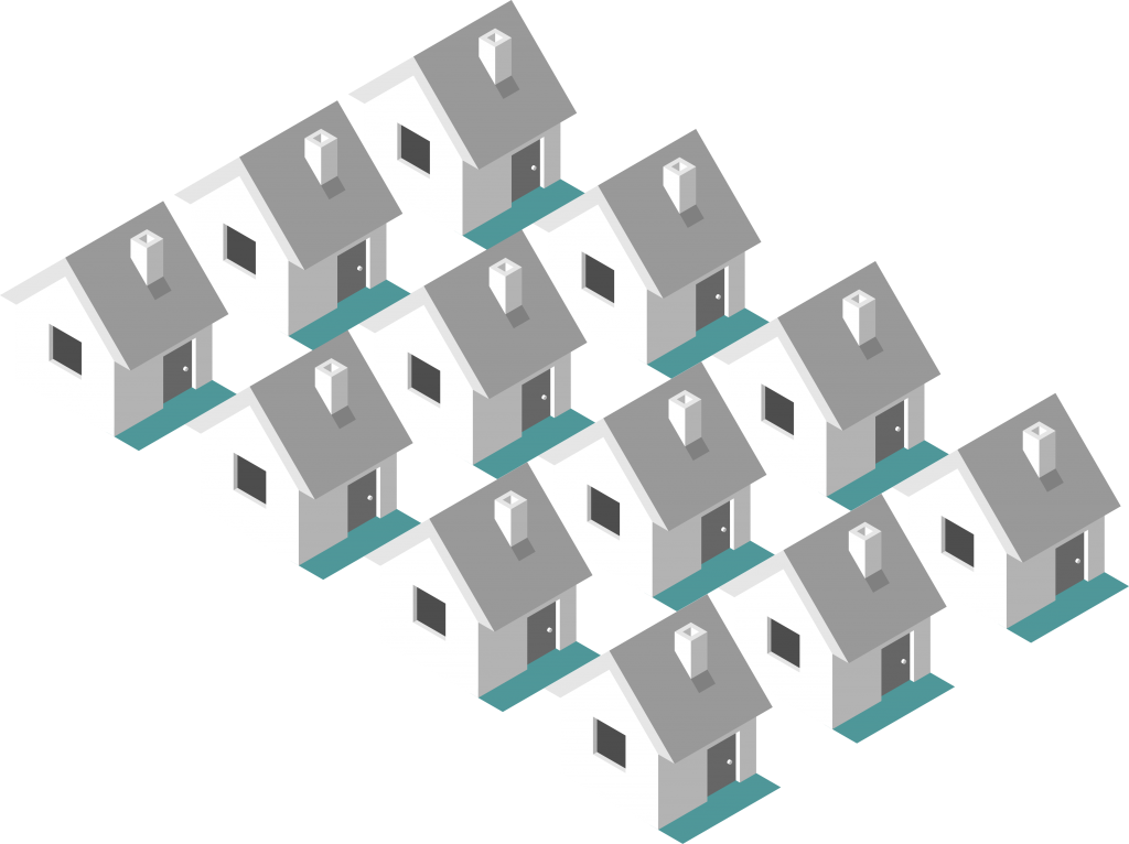 isometric illustration of homes powered by renewable electricity