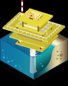 Isometric illustration of offshore substation